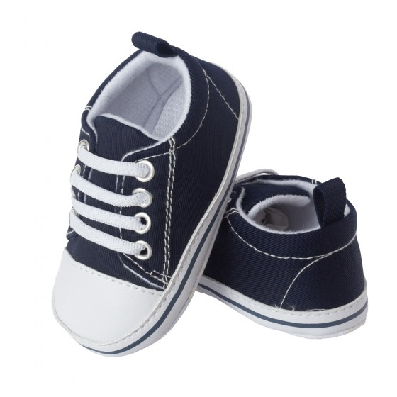 Little Me Navy Twill Baby Boy Sneaker; Assorted Sizes, 0-6, 6-9 & 9-12 Months