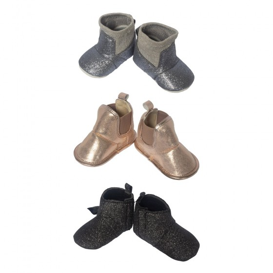 Little Me 3 Pack Soft Sole Crib Baby Girl Shoes- Baby Girls High Top Boots; 0-6 Months