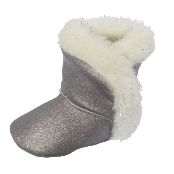 Little Me Silver Metallic Baby Girl Boot with White Lurex Faux Fur; Assorted Sizes, 0-6, 6-9 & 9-12 Months