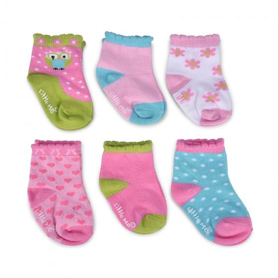 Little Me Infant Girls' 6pc Happy Owl Multi Color Sock Set; 12-18 Months