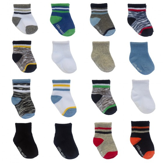 Little Me 16pk Baby Boys Socks, Boys Sport Pack; 8 Pairs 0-12M & 8 Pairs 12-24M
