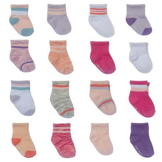 Little Me 16pk Baby Girls Socks, Girls Sport Pack; 8 Pairs 0-12M & 8 Pairs 12-24M