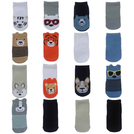 Little Me 16pk Baby Boys Socks, Animal Theme & Solid Colors; 8 Pairs 0-12M & 8 Pairs 12-24M