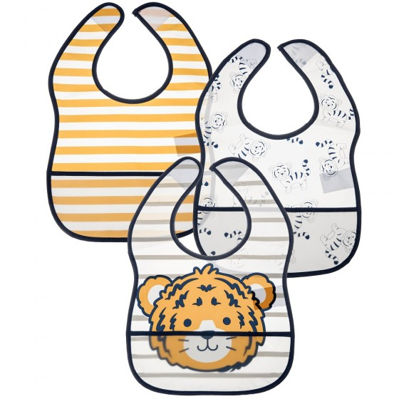 Little Me 3 Pack Baby Boy Tiger Crumb Catcher Bibs; 0-12 Months