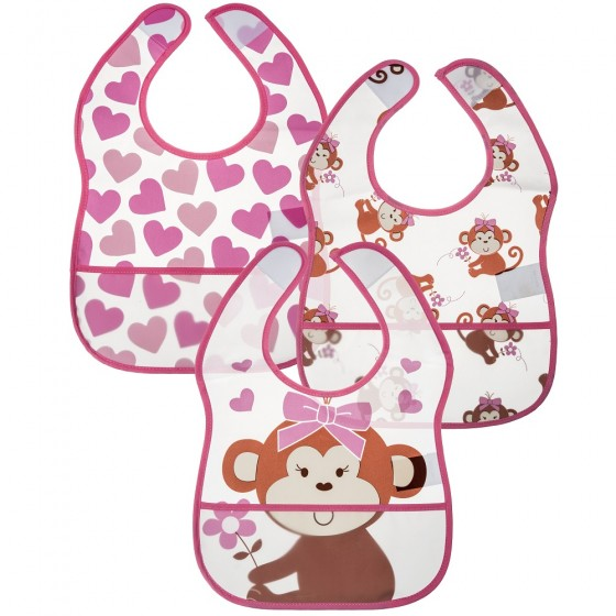 Little Me 3 Pack Baby Girl Miss Monkey Crumb Catcher Bibs; 0-12 Months