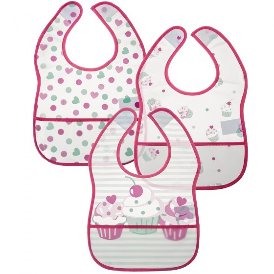 Little Me 3 Pack Baby Girl Cupcakes Crumb Catcher Bibs; 0-12 Months