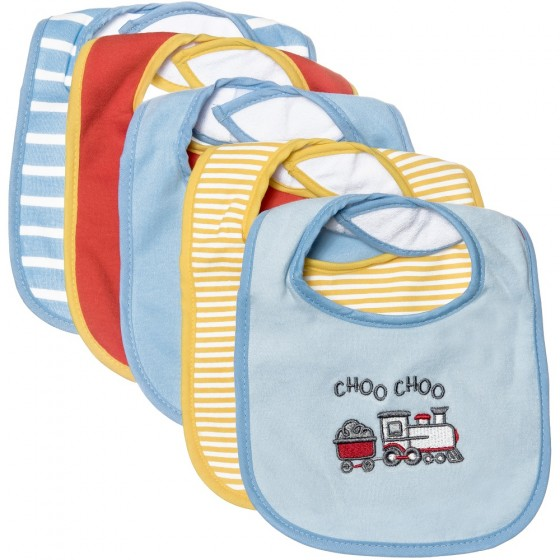 Little Me 5 Pack Baby Boy Train Bibs; 0-12 Months
