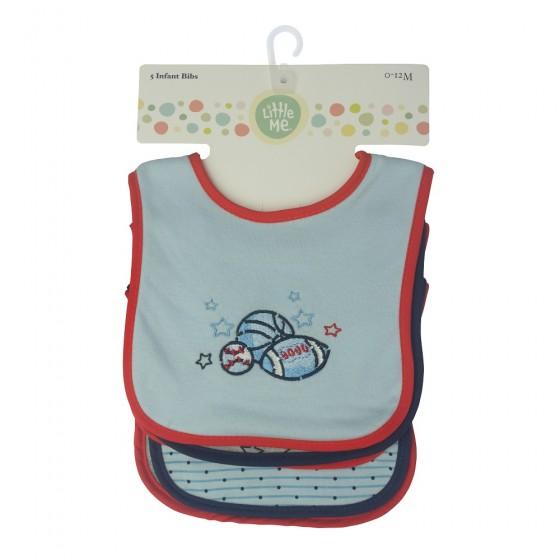Little Me 5 Pack Baby Boy Bibs- Sports; 0-12 Months