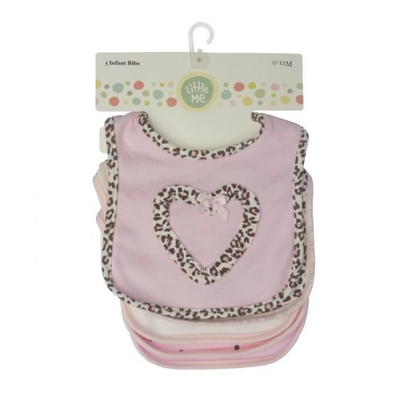 Little Me 5 Pack Baby Girls Bibs- Animal & Heart Print; 0-12 Months