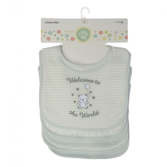 Little Me 5 Pack Unisex Baby Bibs- Welcome to the World Print; 0-12 Months