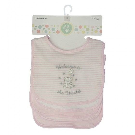 Little Me 5 Pack Baby Girl Bibs- Welcome to the World; 0-12 Months