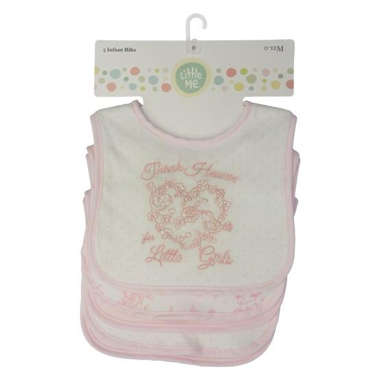 Little Me 5 Pack Baby Girl Bibs- Thank Heaven; 0-12 Months
