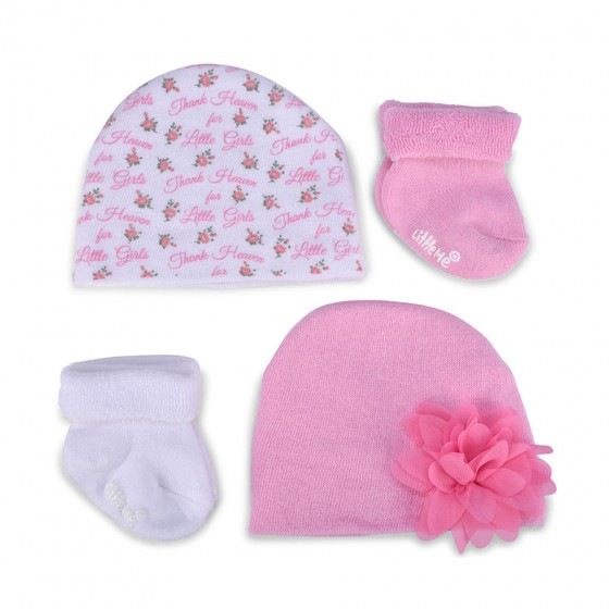 Little Me Infant Girls' Gift Set; 2 Hats & 2 Pairs of Terry Socks; 0-6M