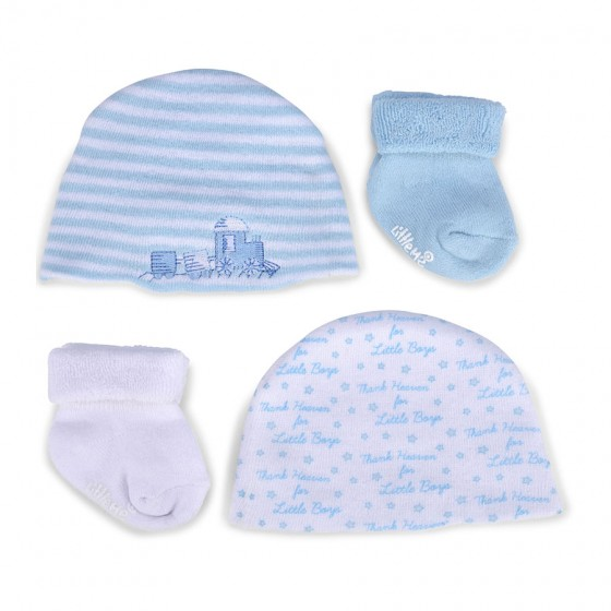 Little Me Infant Boys' Gift Set; 2 Hats & 2 Pairs of Terry Socks; 0-6M