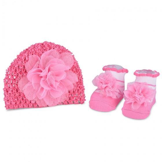 Little Me Infant Girls' Pink Tulle Flower Fancy Crochet Hat & Bootie Set; 0-12M