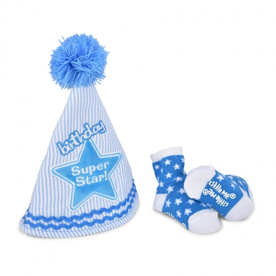 Little Me Infant Boys 2pc Super Star Birthday Hat and Bootie Set; One Size