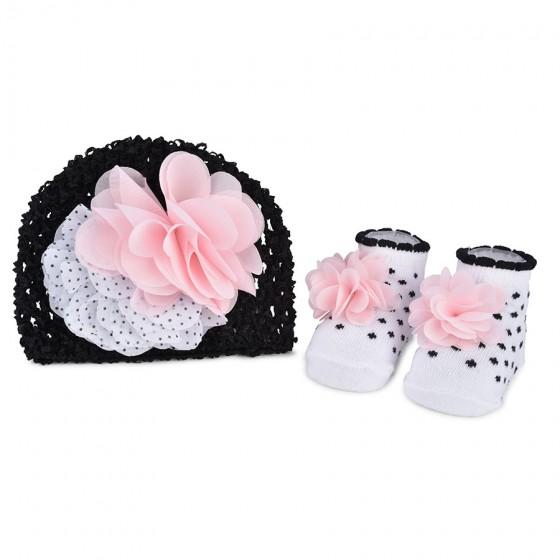 Little Me Infant Girls' Fancy Crochet Hat & Booties Set; 0-12M