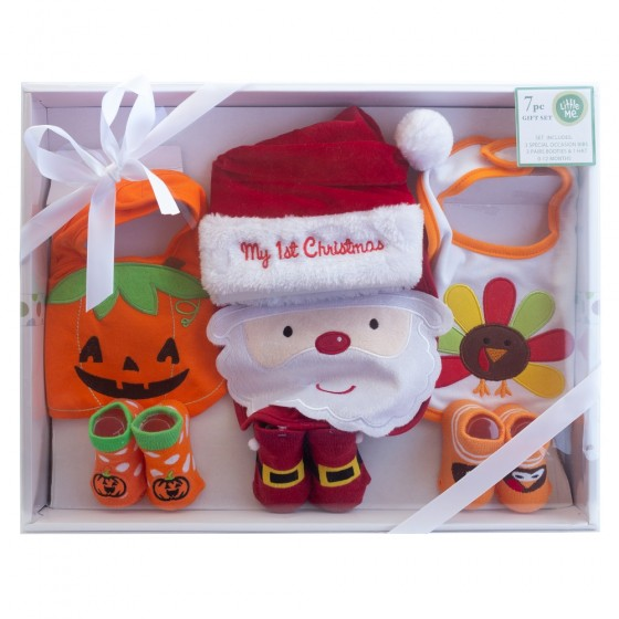Little Me My First Christmas, Halloween & Thanksgiving Holiday Outfit Baby Gift Set- Bibs, Booties & Santa Hat