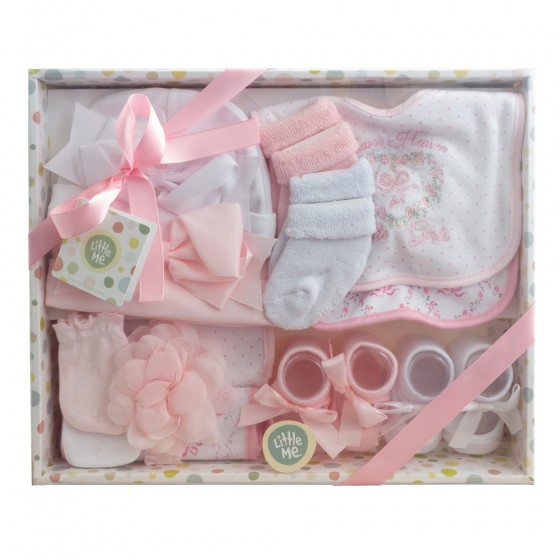 Little Me 13 Piece Newborn Baby Girl Essentials Gift Set; Hats, Bibs, Burp Cloths, Booties, Scratch Mittens, Head Wrap & Socks