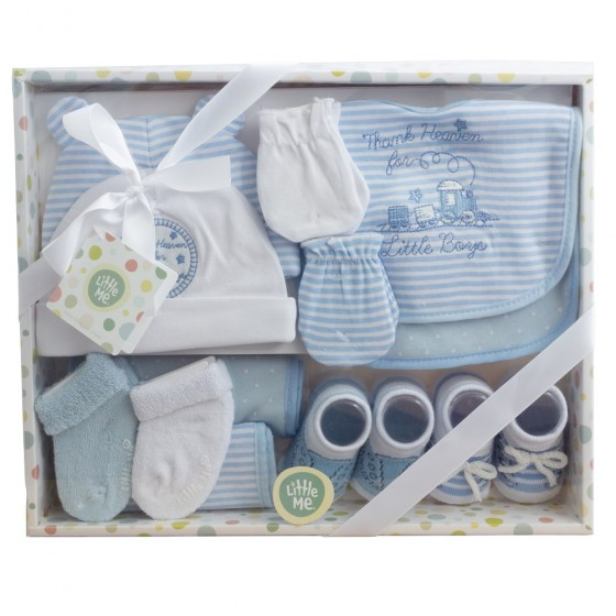Little Me 12 Piece Newborn Baby Boy Essentials Gift Set; Hat, Bibs, Burp Cloths, Booties, Scratch Mittens & Socks