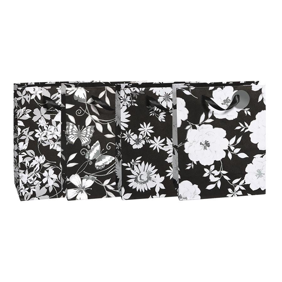 Medium Black White Garden Gift Bags 4 Bag Assortment Gift Bags