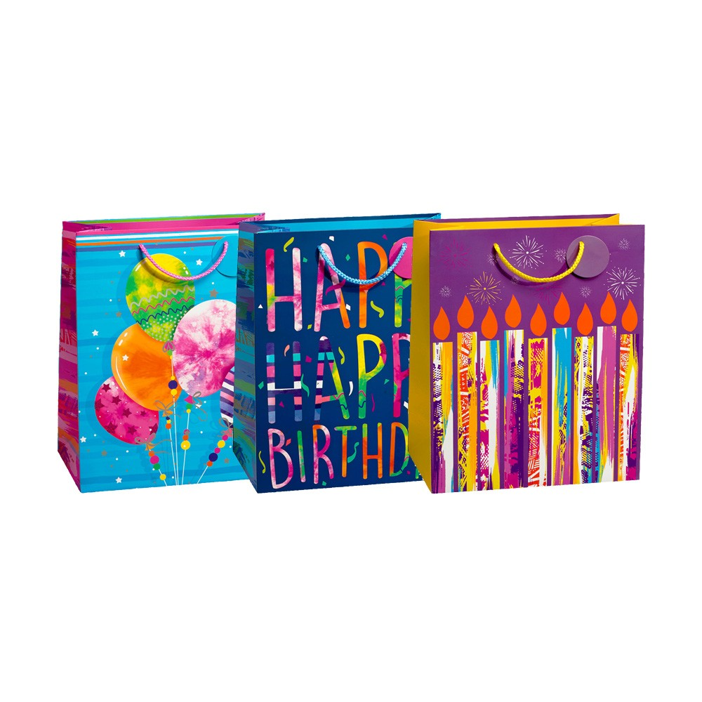 Large Tie Dye Birthday Gift Bags Spot UV 210GSM 3 Bag Assortment