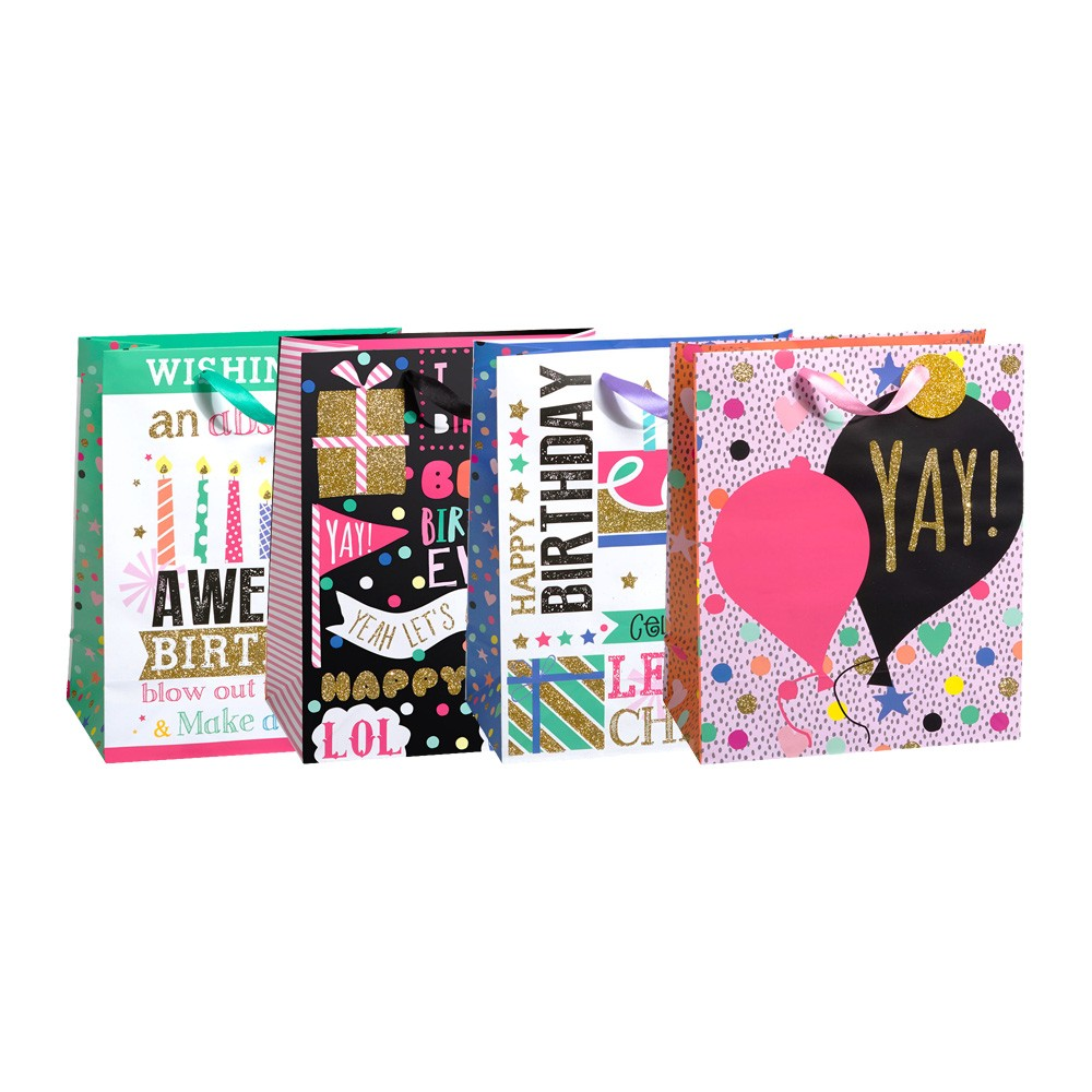Large Cheers To The Best Birthday Gift Bags Glitter 4 Bag Assortment