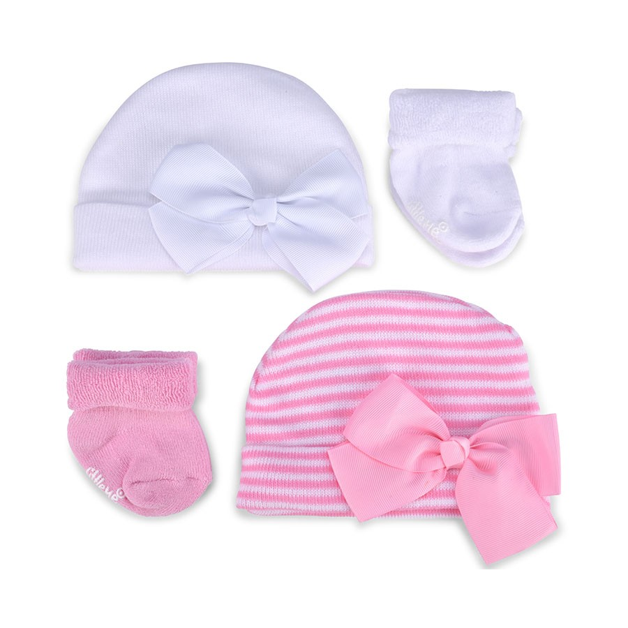 9034f73e7e9 Little Me Infant Girls  Gift Set  2 Hats   2 Pairs of Terry Socks  0 ...