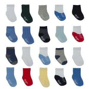 Little Me Baby Boys' 20 Pack Textured Socks in Boxed Set, Assorted; 0-12 Months/ 12-24 Months