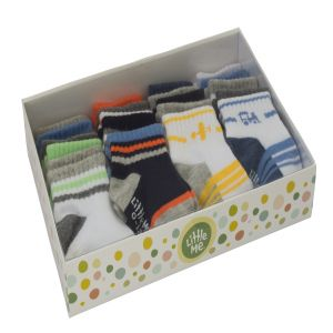 Little Me Baby Boys' 20 Pack Sport Socks in Boxed Set, Assorted; 0-12 Months/ 12-24 Months