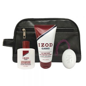 Izod Classics 4-Piece Travel Set in Black Leather Dopp Bag