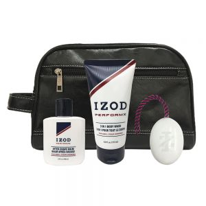 Izod PerformX 4-Piece Travel Set in Black Leather Dopp Bag