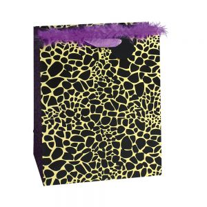 Large Square Animal Skin Print Gift Bags (Marabou); 4 Bag Assortment