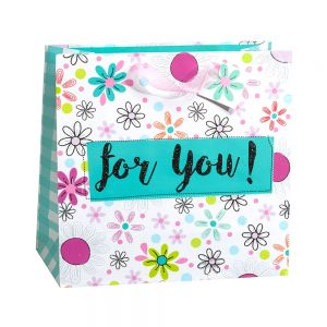 Large Square Flower For You Gift Bags (Black Glitter); 4 Bag Assortment