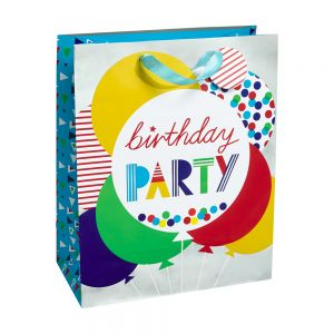 Medium Birthday Party Gift Bags (Silver Hot Stamp); 4 Bag Assortment