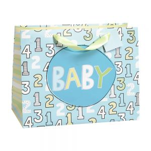Large Horizontal 1, 2, 3 Baby Gift Bags (210 GSM, Silver Hot Stamp, Embossed Paper); 4 Bag Assortment