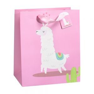 Large Llama Drama Gift Bags (210 GSM, Glitter); 3 Bag Assortment
