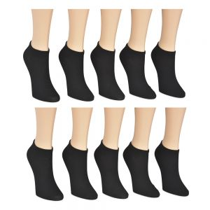 10pk Basic Black No Show Socks; Ladies Size 9-11