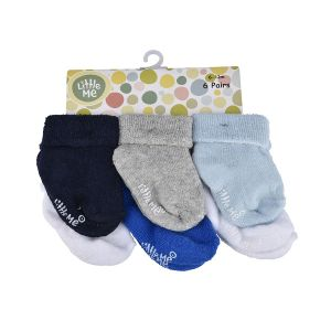Little Me Infant Boys' 6pc Multi Color Socks; 6-12M
