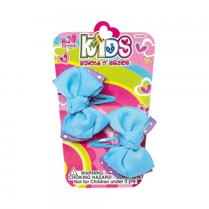 2pc Snap Barrettes with Double Grosgrain Bows