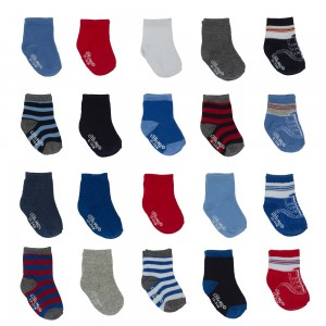 Little Me Baby Boys' 20 Pack Flat Knit Socks in Boxed Set, Assorted; 0-12 Months/ 12-24 Months