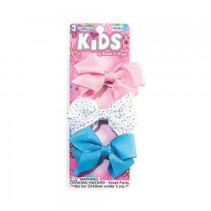 3pc Snap Barrettes with Fabric Bow