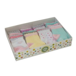 Little Me Baby Girls' 20 Pack Flat Knit Socks in Boxed Set, Assorted; 0-12 Months/ 12-24 Months
