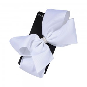 White Jumbo Bow with Center Stones Metal Salon Clip