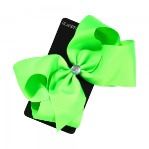 Green Jumbo Bow with Center Stones Metal Salon Clip