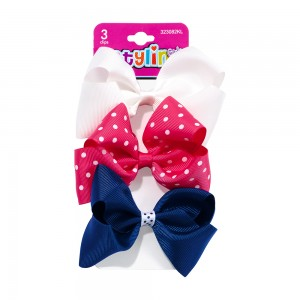3pc Small Bow Salon Clips with Polka Dots