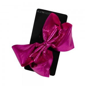 Jumbo Metallic Fabric Bow on Metal Salon Clip