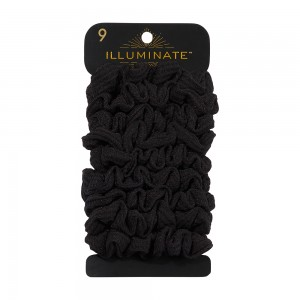 9pc Medium Thermal Fabric Black Scrunchies