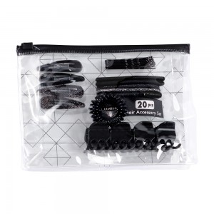 20pc Black Hair Set in PVC Pouch; 4 Barrettes/ 6 Bobby Pins/ 4 Clips/ 1 Coil/ 5 Clasp Free Ponyholders