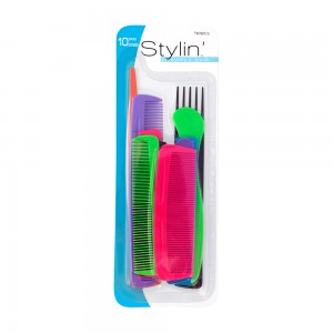 10pc Assorted Bright Comb Set